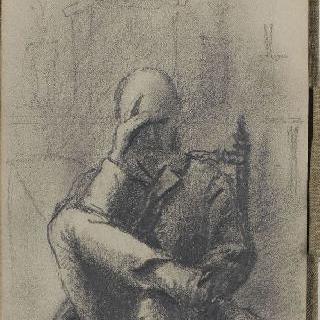 화첩 : 오른손에 머리를 괴고 다리를 꼰 채 앉아 있는 남자의 초상