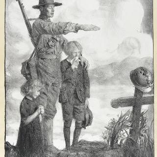 부모의 무덤 앞의 전쟁 고아들