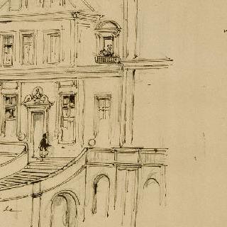 말굽 모양의 계단 위쪽의 중앙 건물