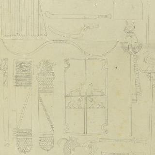 테베, 깃발, 왕의 다섯 번째 무덤 속 무기와 도구, 동쪽