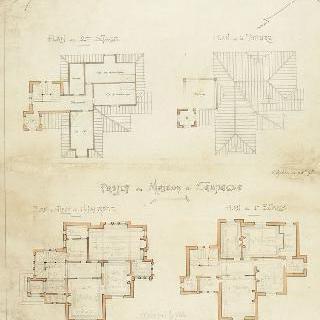 시골집 계획안, 2층과 3층, 지붕