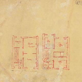 어느 가옥의 2개의 도면, 1층과 2층
