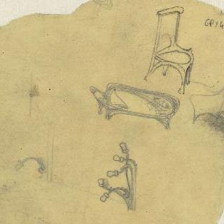 노잘씨의 대저택 : 응접실의 조명 크로키와 의자 데생