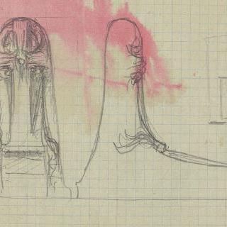 쇼미에르 묘지 : 크로키, 정면 입면도와 단면도
