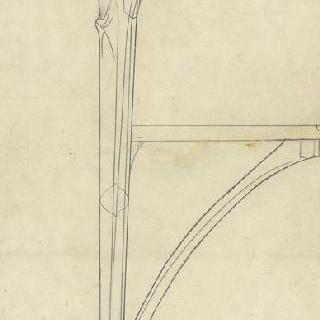 호두나무로 만든 세 개의 발이 달린 작은 탁자의 단면도