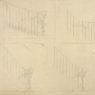 카스텔 베랑제르 : 세 개의 계단 난간의 기둥의 습작 4점