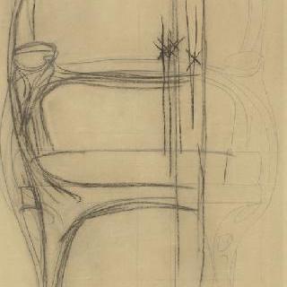 코아리오 가옥 : 안락의자 계획안, 정면 입면도