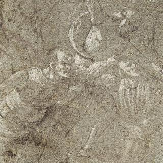 무릎 꿇은 남자를 때리는 병사와 왼쪽의 또다른 무릎 꿇은 남자