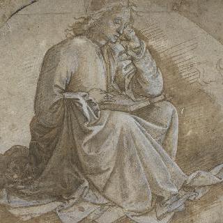 무릎 위에 책을 펼쳐놓고 한 손에 머리를 기대고 앉아 있는 성 루가