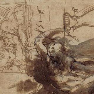 틀 안의 아기 예수를 안고 있는 성모, 누워있는 나체의 남자 습작 2점, 다리 습작