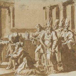 사제들에게 명령을 내리는 다윗왕