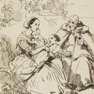 여자, 두 아이, 수도승