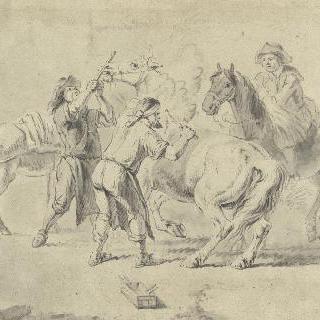 말에게 먹이를 주는 대장장이