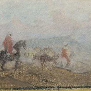 산이 있는 풍경 속 두 명의 아프리카 원주민 기병