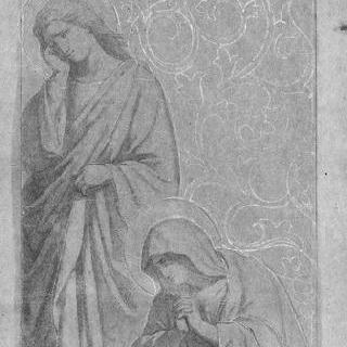 서 있는 성자, 무릎을 꿇은 성녀