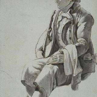음악 악기를 들고 있는 앉아 있는 남자 (습작)