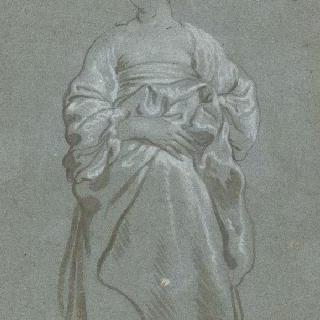 오른손을 배 위에 올린 서 있는 여자