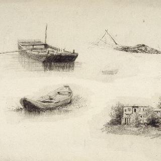 작은 배들과 집에 대한 여러 크로키