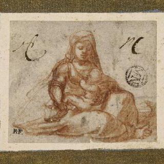 무릎 위에 아기 예수를 올려놓은 앉아 있는 성모