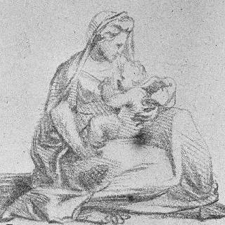 무릎 위에 아기 예수를 올려놓은 성모