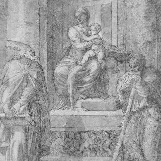 주교와 성자에게 둘러싸인 왕좌 위의 성모와 아기 예수