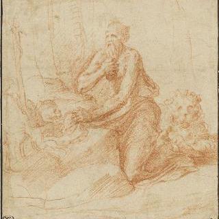 예수의 수난상 앞의 무릎 꿇은 채 가슴을 치는 성 제롬