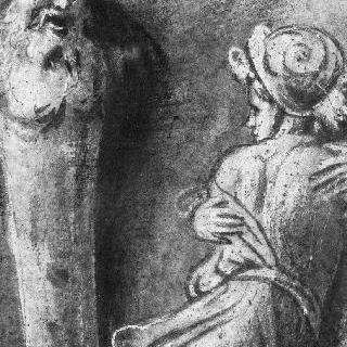 흉상주와 반신상의 두 인물 : 사비나 여인들의 납치 세부 묘사
