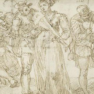 바이올린을 연주하는 여인과 남자들