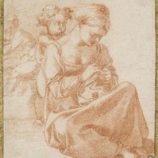 바닥에 앉아서 바느질하는 여인과 그녀 뒤의 두 아이들