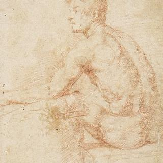 왼쪽으로 몸을 돌린 채 긴 위자에 앉아 있는 벌거벗은 남자의 뒷모습
