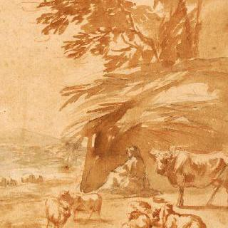 풍경 속의 소와 양 떼