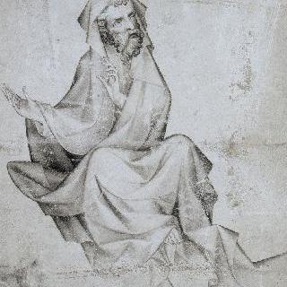 오른쪽을 바라보는 구름 위에 앉아 있는 예언자의 정면