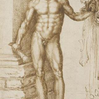 네메아의 사자의 머리를 왼손에 들고 있는 승리자 헤라클레스