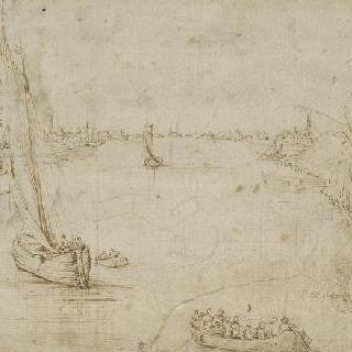 나무와 가옥과 사람들로 둘러싸인 넓은 강 위의 작은 배
