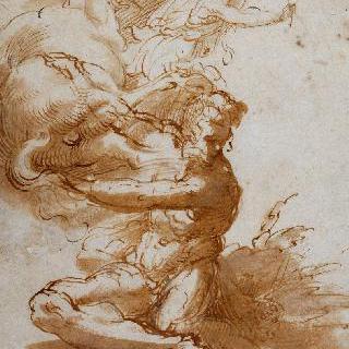 앉아 있는 나체의 남자, 넘어진 말과 청룡도를 든 청년