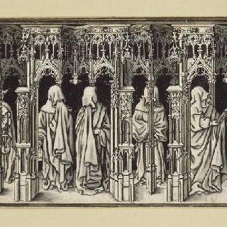 디종의 장 상 페르 (1371-1419) 무덤의 상복을 입고 눈물을 흘리는 사람들
