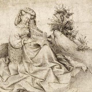 휴대용 오르간을 연주하는 풍경 속 젊은 여인