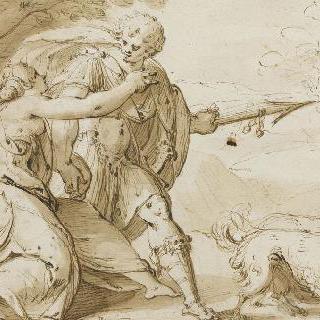 사냥을 떠나려는 아도니스를 붙잡는 비너스