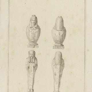 네 개의 이집트 소형 동상