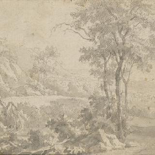 연못과 바위들이 있는 풍경