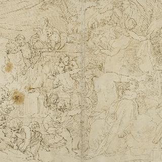 아도니스의 죽음에 슬퍼하는 에로스들에게 둘러싸인 비너스