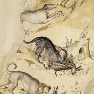 토끼와 산토끼를 쫓는 오른쪽을 향하는 세 마리의 개