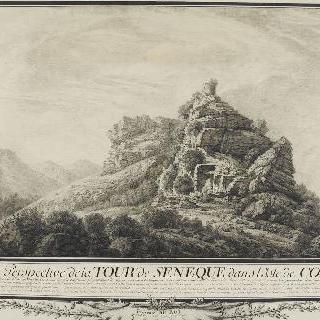 코르시아의 폐허가 된 세네크 탑의 전경