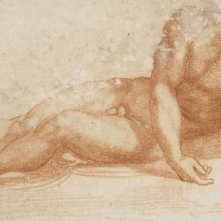 팔을 앞으로 늘어뜨리고 누워있는 남자의 정면 나체 : 그리스도의 죽음
