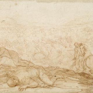 아킬레우스를 찾으러 온 파트로클레스의 천막 아래의 오디세우스