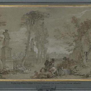 1759년 팔라탱 산 위의 파르네세 궁전 정원의 테라스와 뒤쪽의 로마의 도시