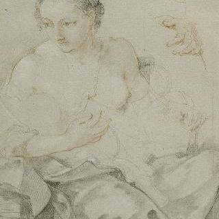 앉아서 아이에게 젖을 주는 젊은 여인 : 왼손 반복