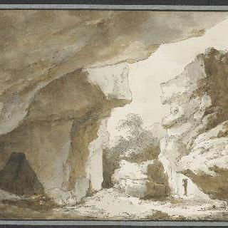 동굴이 있는 바위투성이의 풍경