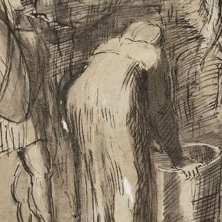 서 있는 세 남자와 항아리 위로 몸을 기울인 여자