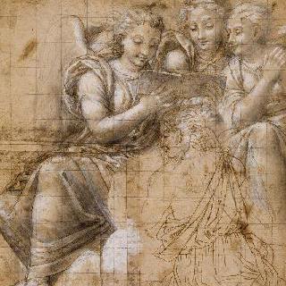세 명의 천사 앞에서 무릎을 꿇고 책을 읽고 있는 처녀